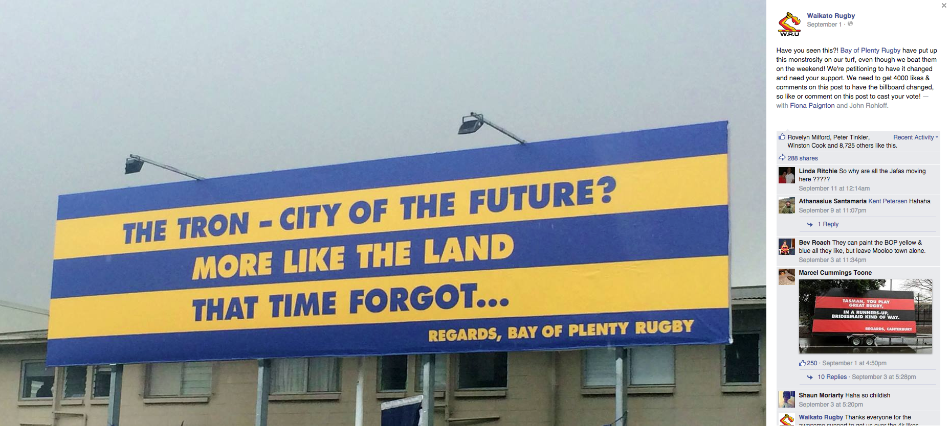 BOP vs Waikato Billboard